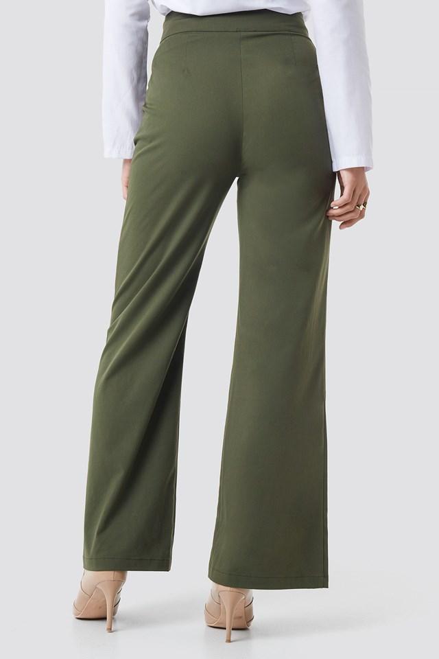 Highwaisted Wide Leg Pants Green