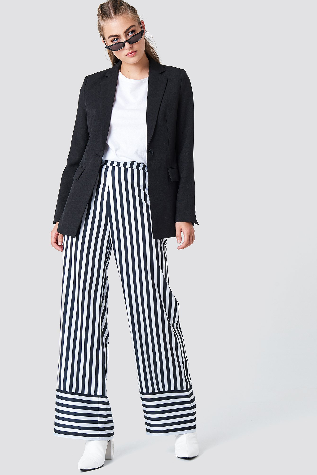 na-kd -  High Waist Wide Striped Pants - Multicolor