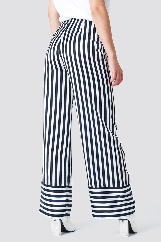 High Waist Wide Striped Pants White/Black