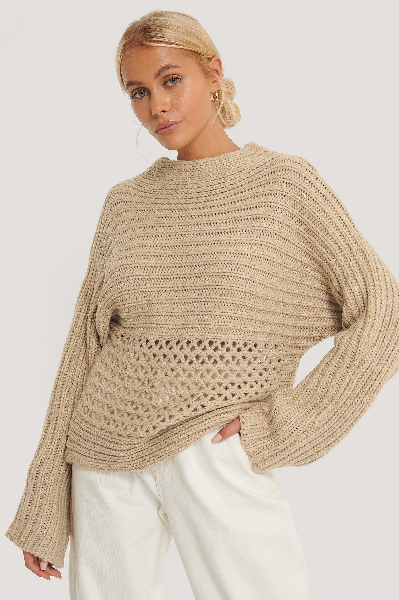 Beige Hole Detail Knitted Sweater