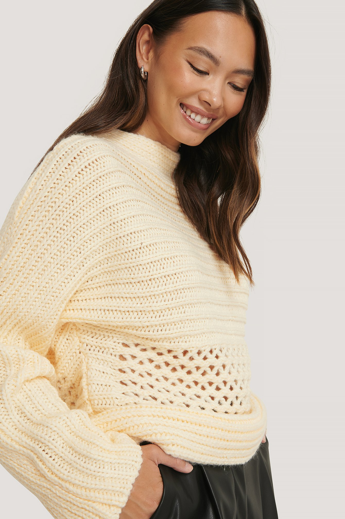 Off White Hole Detail Knitted Sweater