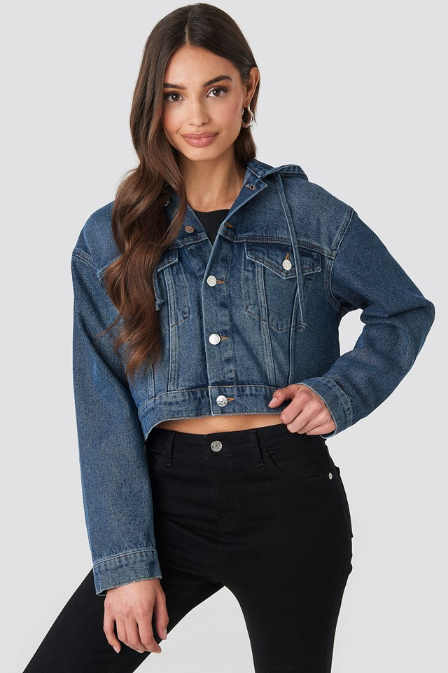Hooded Cropped Denim Jacket Mid Blue Wash