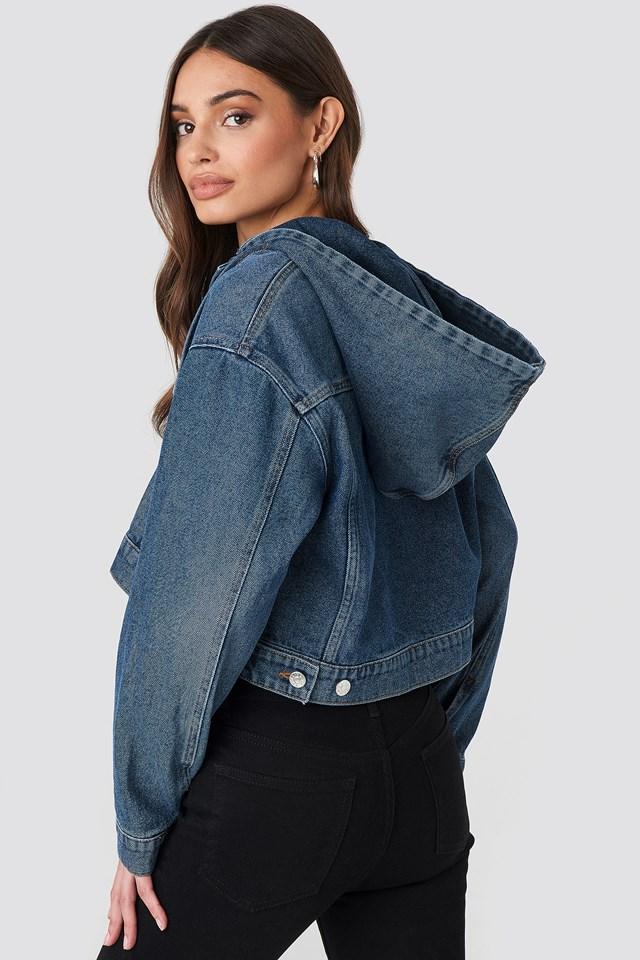 Hooded Cropped Denim Jacket Mid Blue Wash