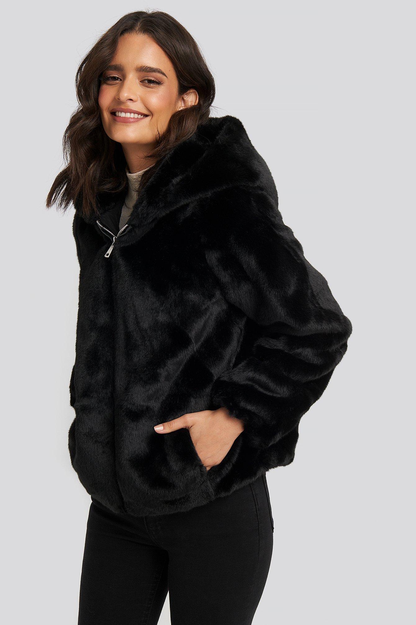 NA-KD Hooded Faux Fur Jacket - Black