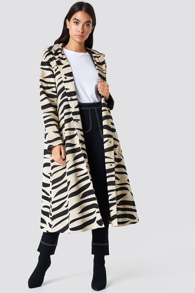 Hooded Zebra Parkas Zebra beige