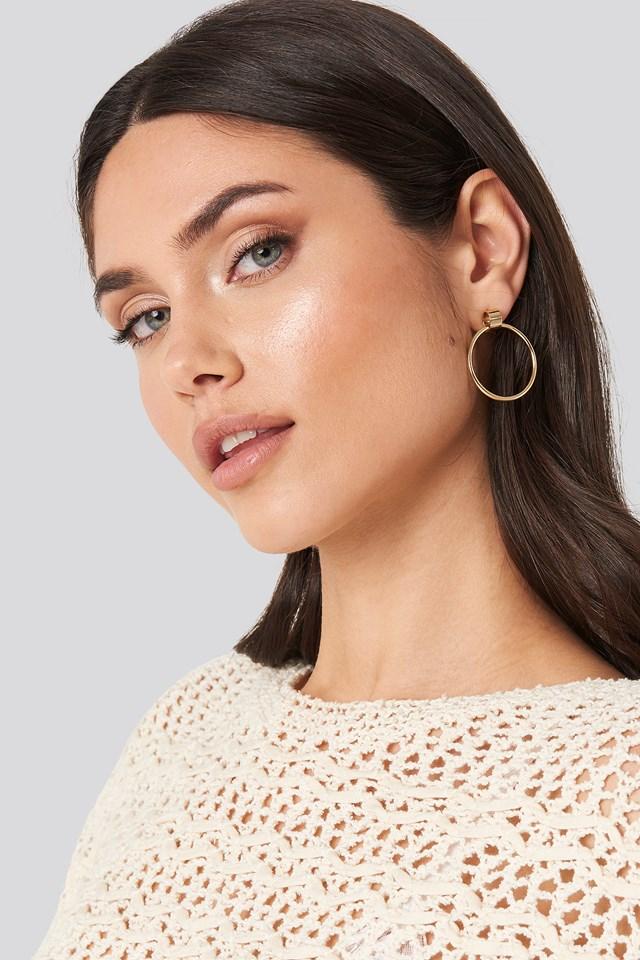 Hoop Stud Earrings Gold