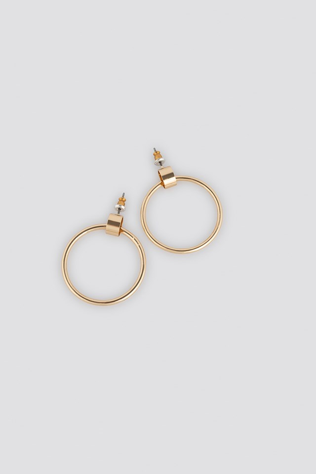 Hoop Stud Earrings Gold