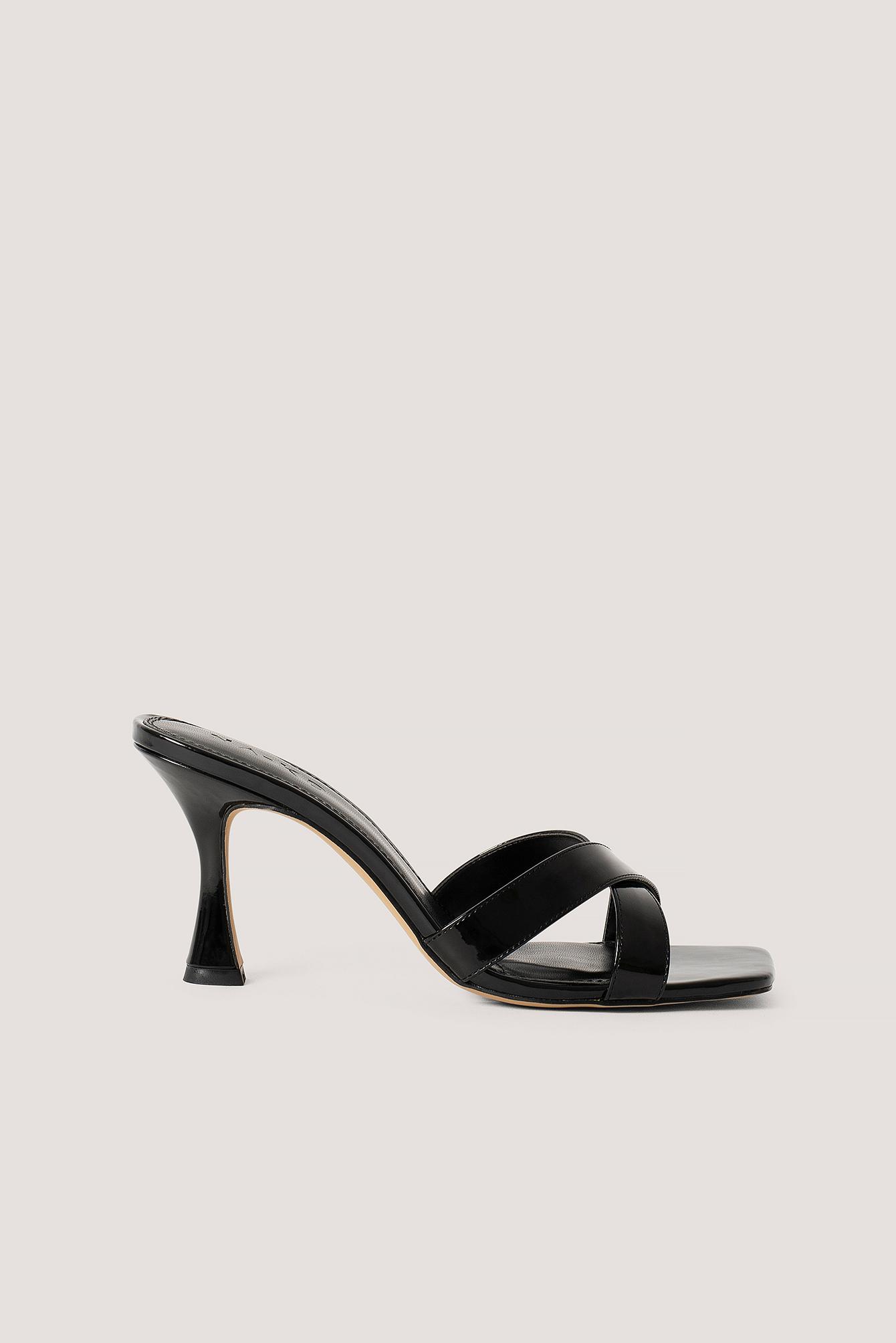 na-kd shoes -  Stiletto-Pantoffeln Mit Eckiger Zehenpartie - Black