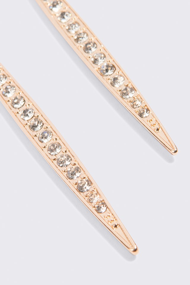 Icicle Shaped Drop Earrings Gold