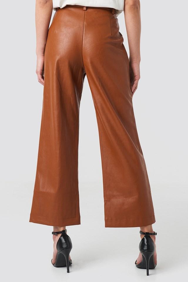 Wide Leg PU Pants Cognac