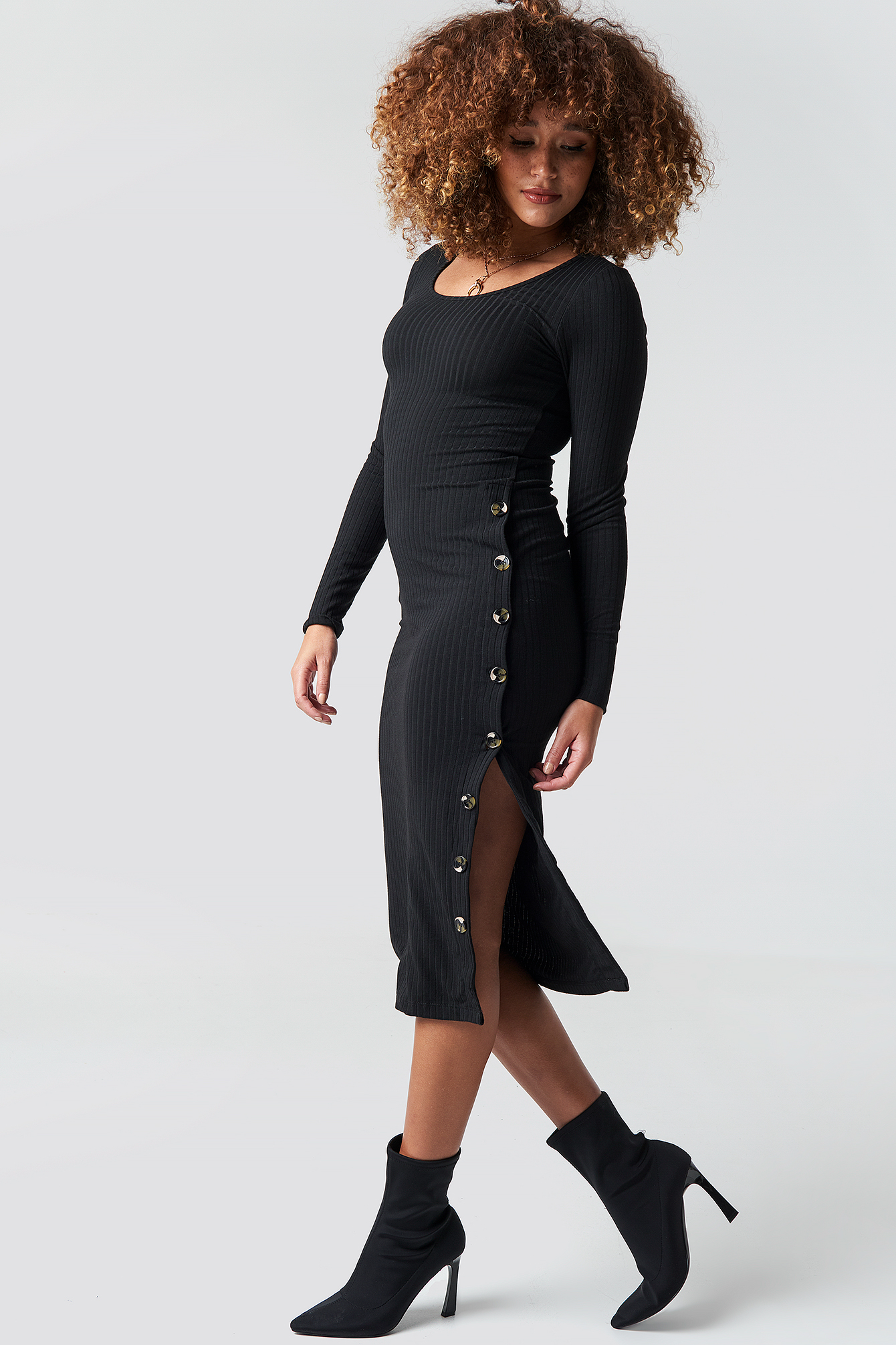 Button Ribbed Dress NA-KD.COM