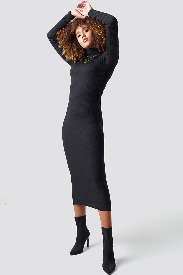 Ribbed Polo Dress Black