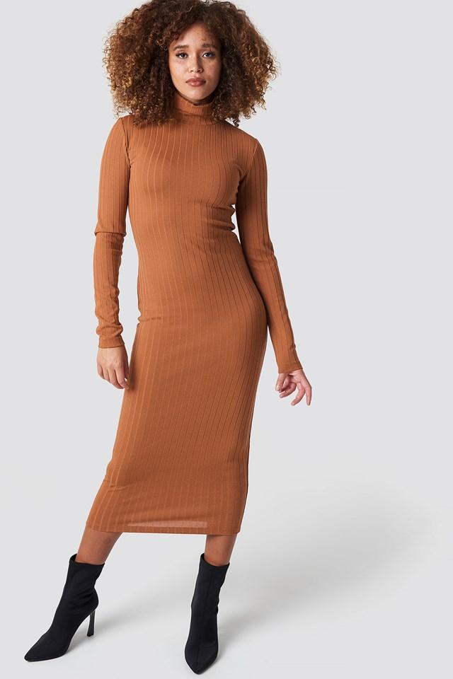 Ribbed Polo Dress Brick