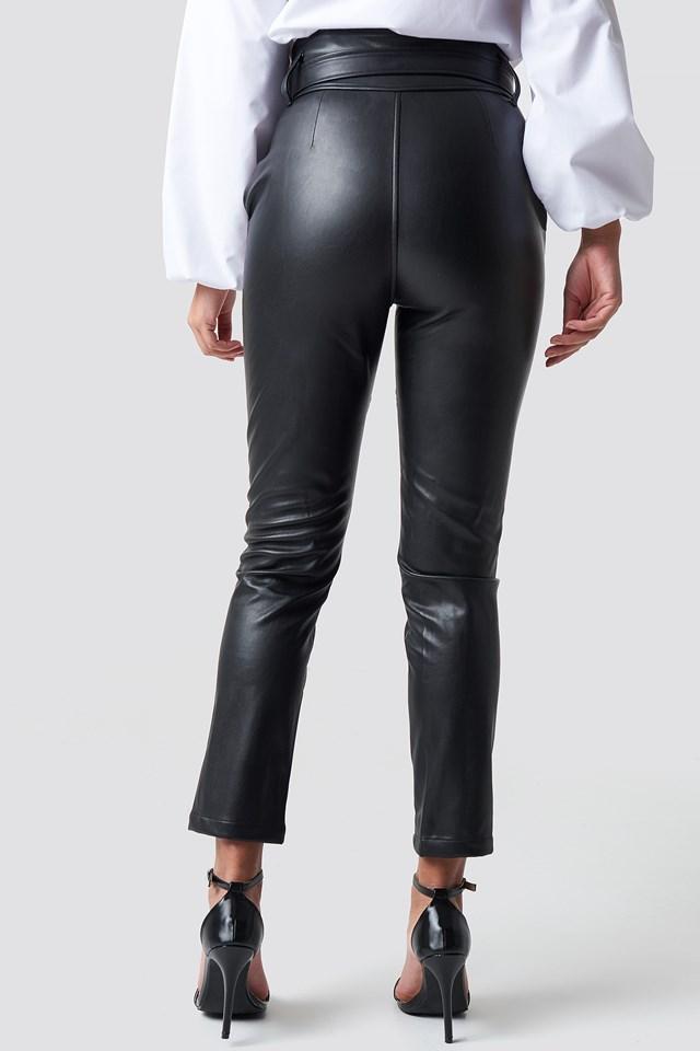 Tie Band PU Pants NA-KD.COM