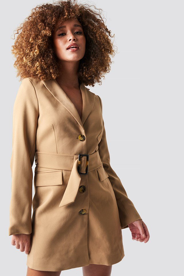 Wide Belted Blazer Dress Beige