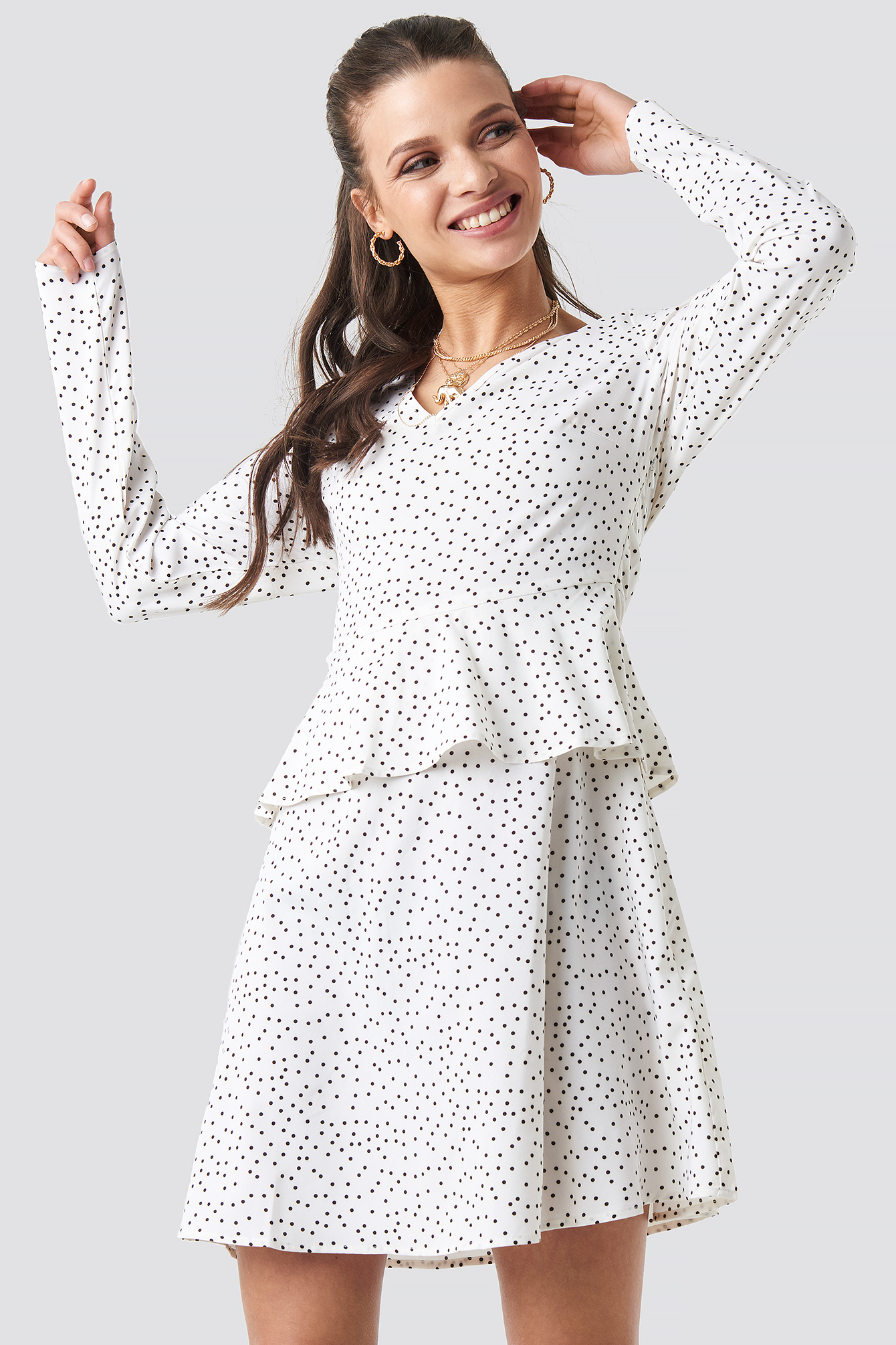 Irregular Dot Printed Flounce Dress NA-KD.COM