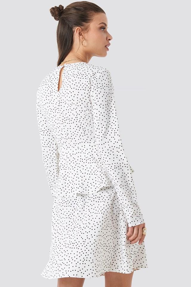 Irregular Dot Printed Flounce Dress White/Black Dot