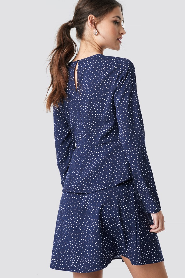 Irregular Dot Printed Flounce Dress Blue/White Dot