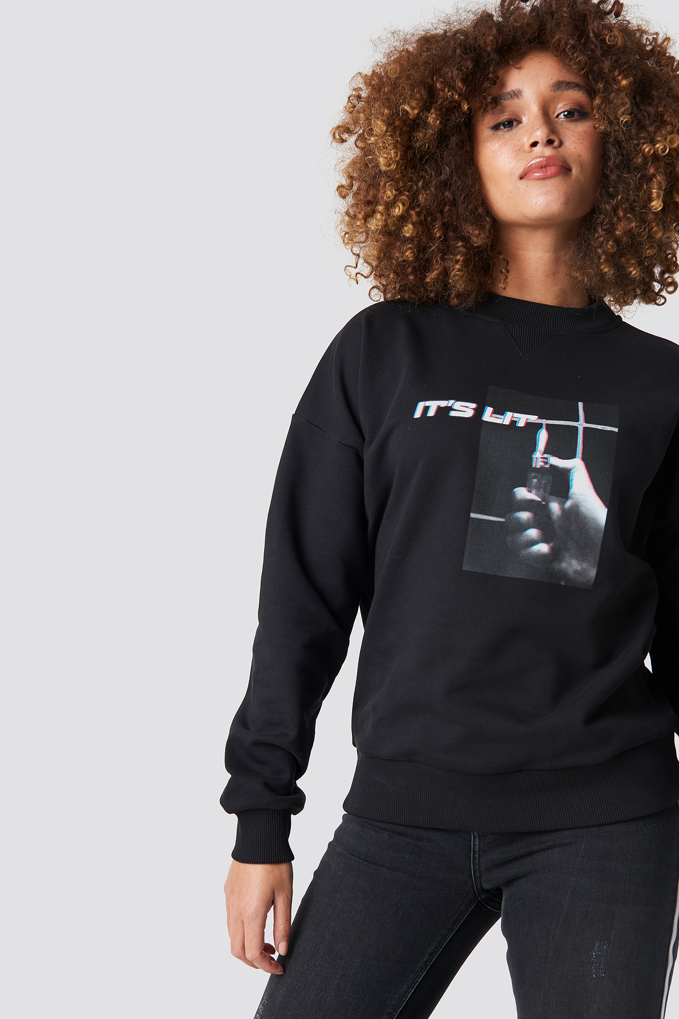 na-kd -  It's Lit Sweatshirt - Black