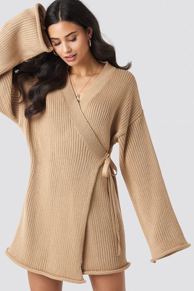 Overlap Knitted Dress Beige