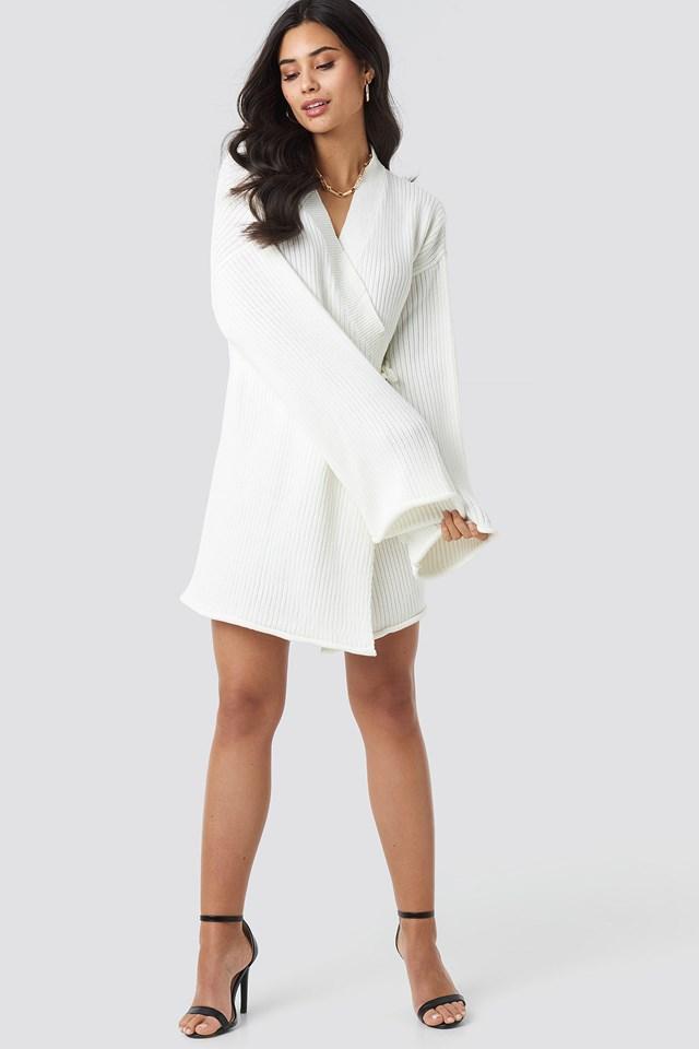 Overlap Knitted Dress White