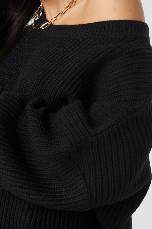 Oversized Knitted Sweater Black
