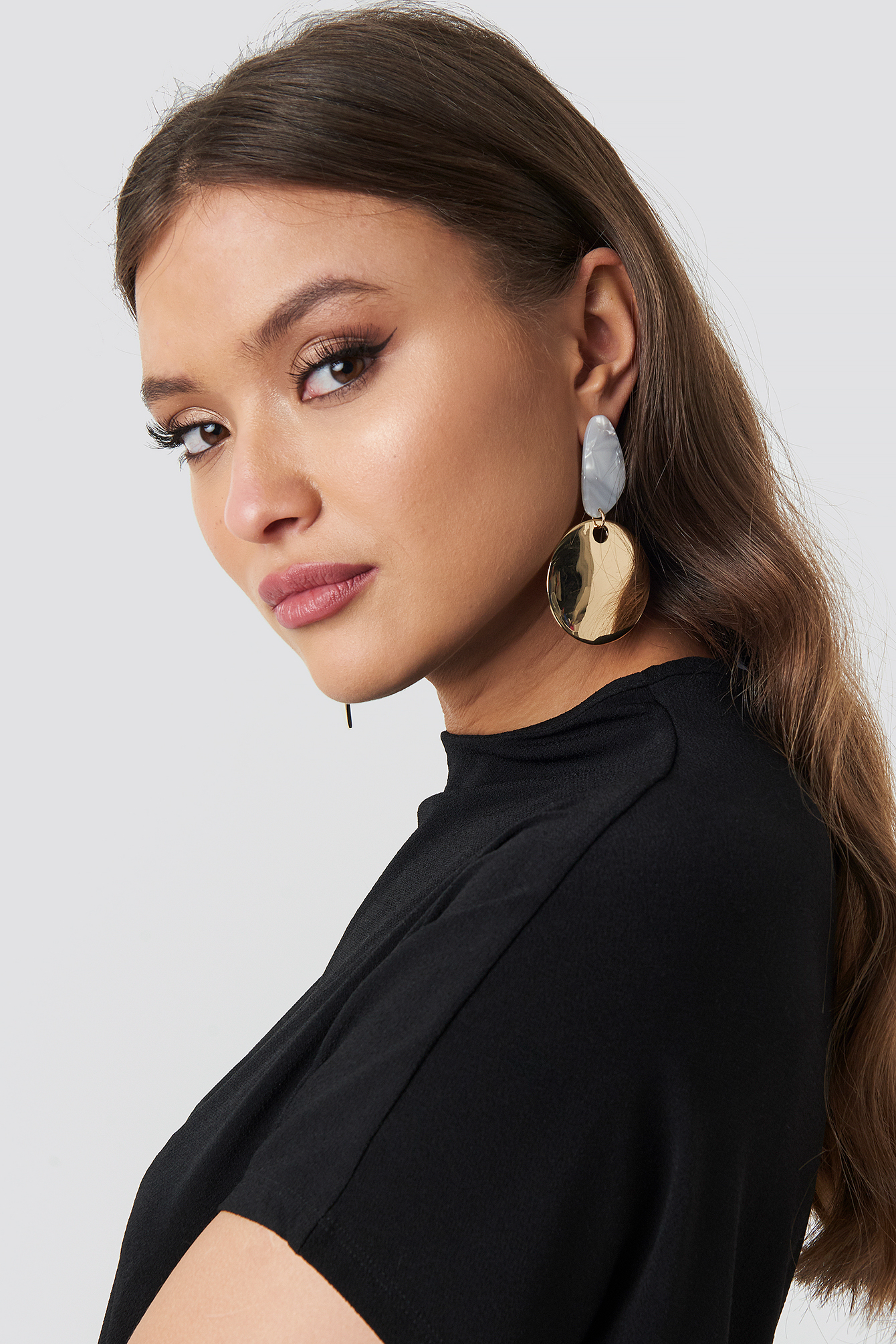 na-kd accessories -  Ivory Stud Drop Plate Earrings - Gold