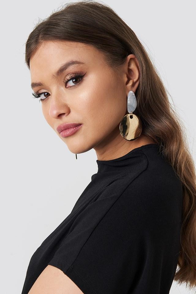 Ivory Stud Drop Plate Earrings Gold