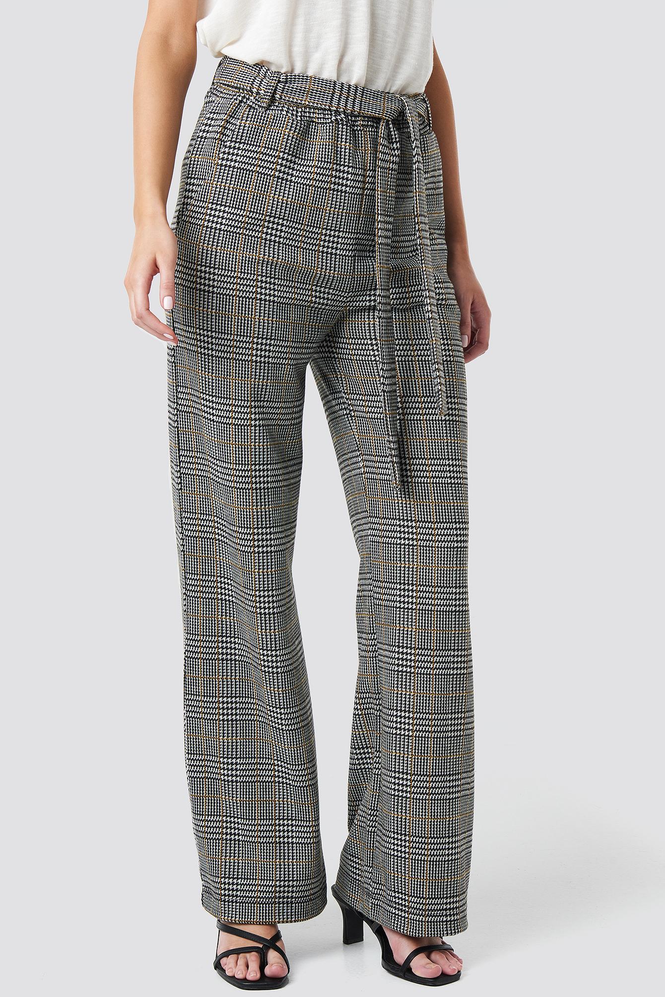 Jacquard Check Trousers NA-KD.COM