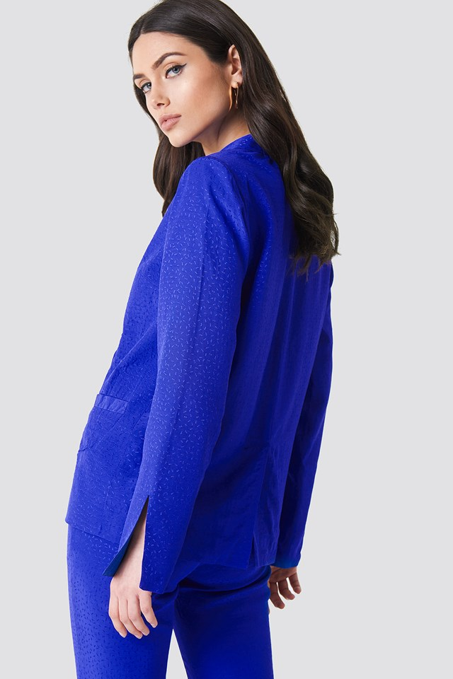 Jacquard Double Breasted Blazer Cobalt