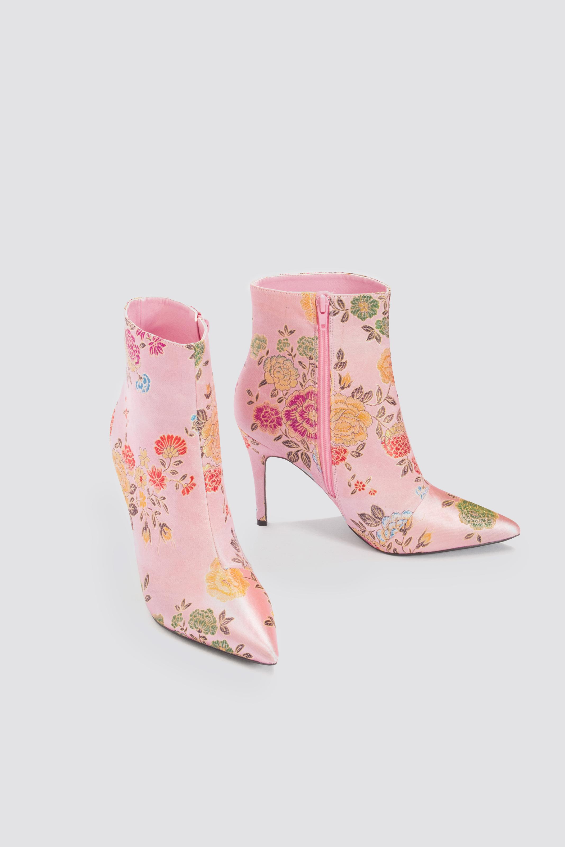 NA-KD Jacquard Flower Satin Boots - Pink SFWjZXi
