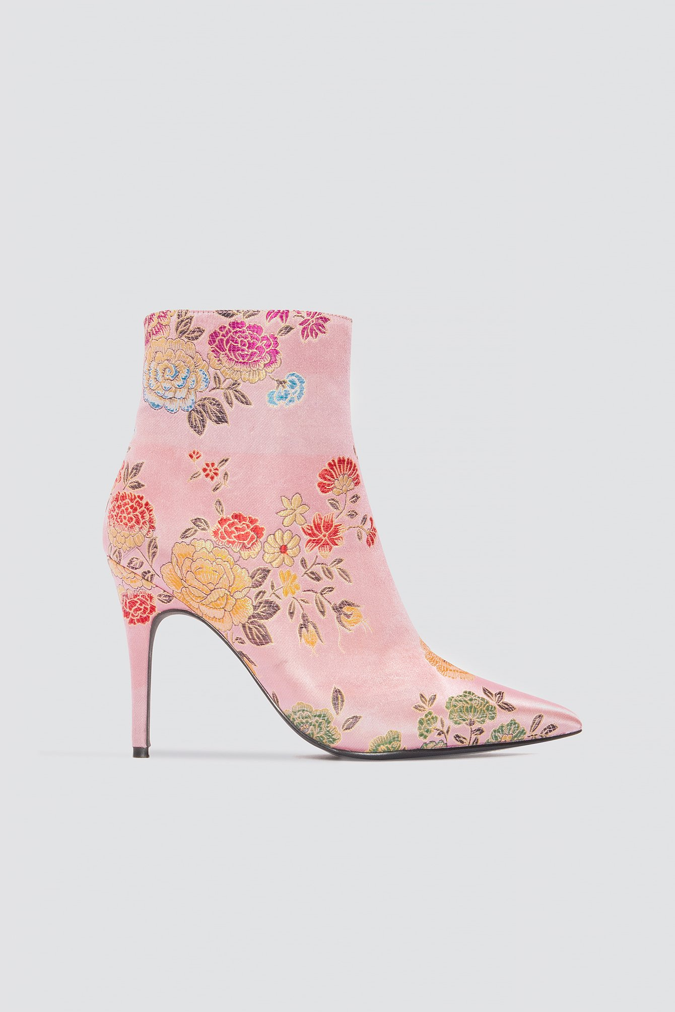na-kd shoes -  Jacquard Flower Satin Boots - Pink