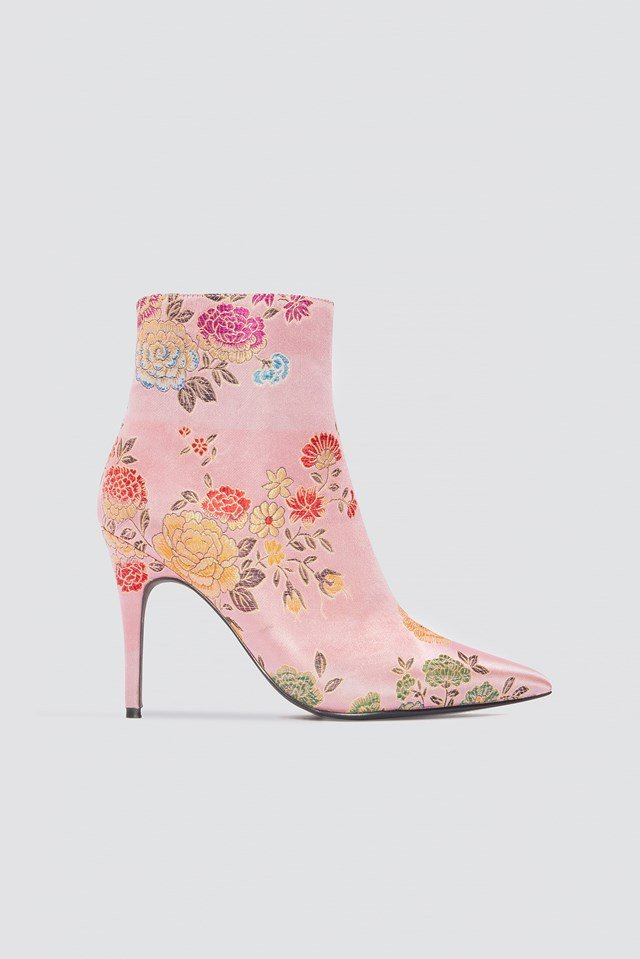 Jacquard Flower Satin Boots NA-KD Shoes