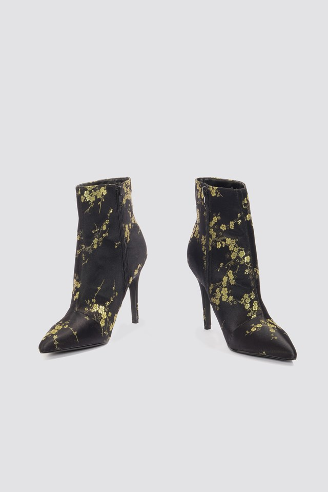 Jacquard Flower Satin Boots Black Flower Print