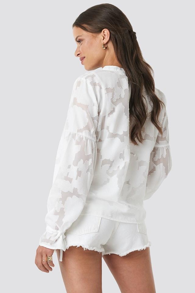 Jacquard Flower Applique Blouse Off White
