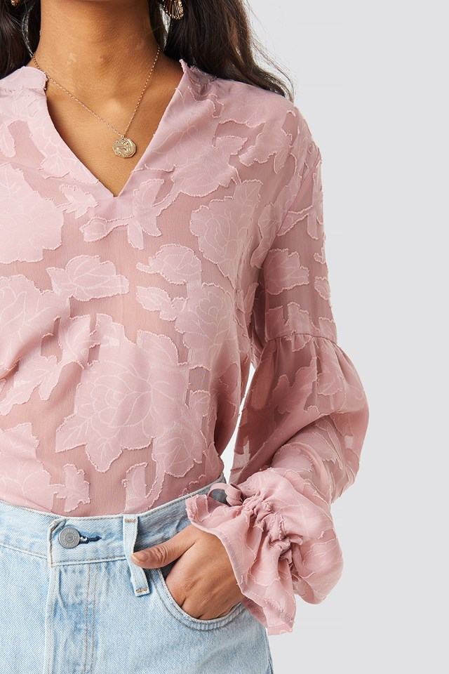 Jacquard Flower Applique Blouse Powder Pink