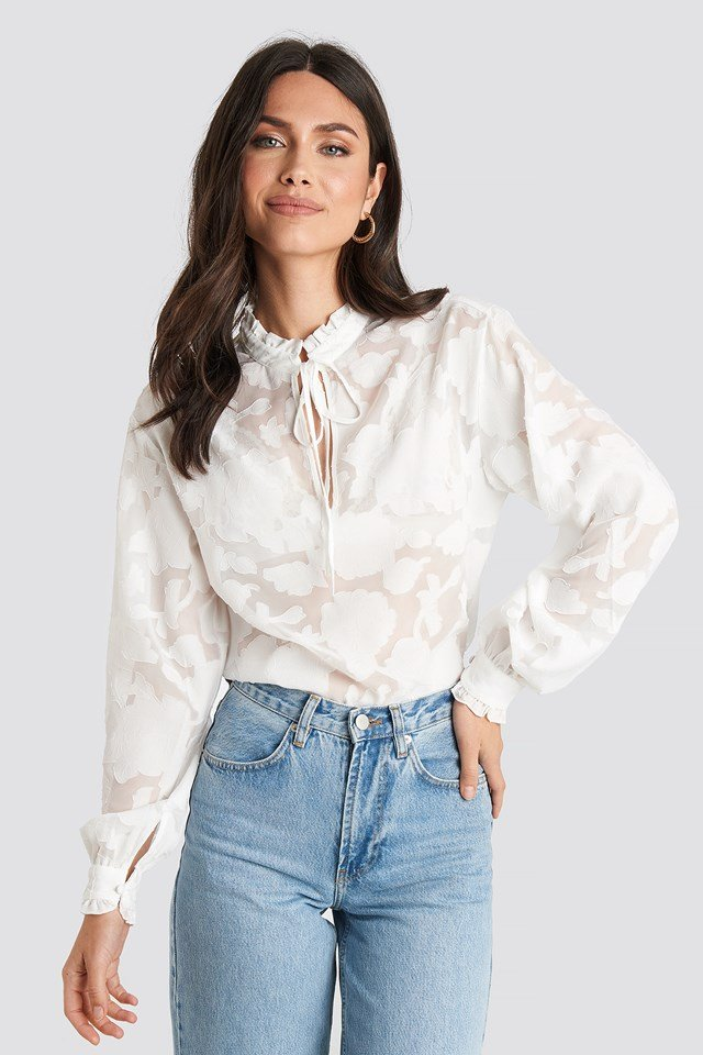Jacquard Flower Frill Neck Blouse White