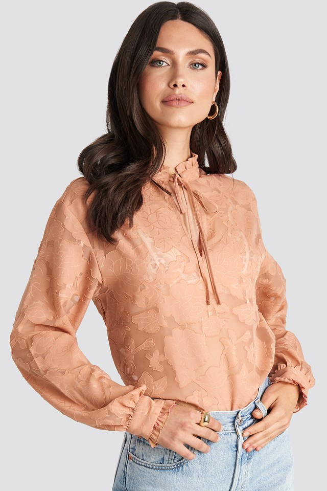 Jacquard Flower Frill Neck Blouse Dark Dusty Pink