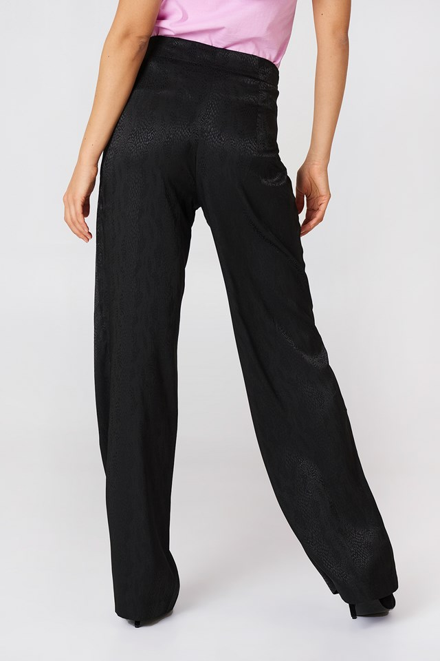 Jacquard Satin Dotted Wide Pants Black