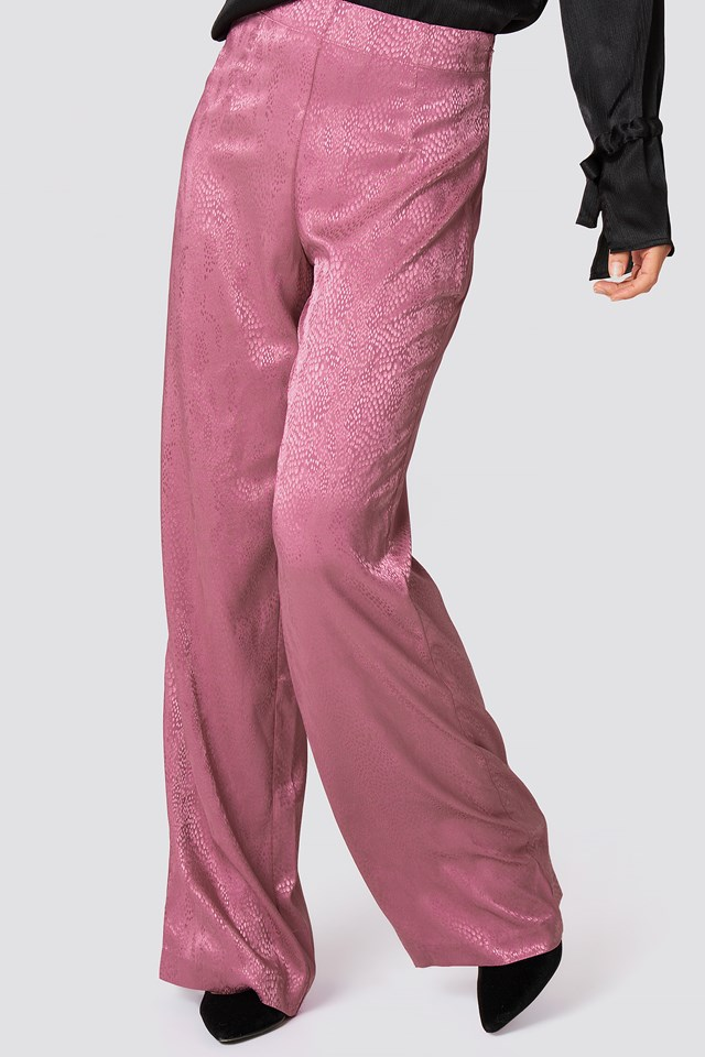 Jacquard Satin Dotted Wide Pants Pink Rose