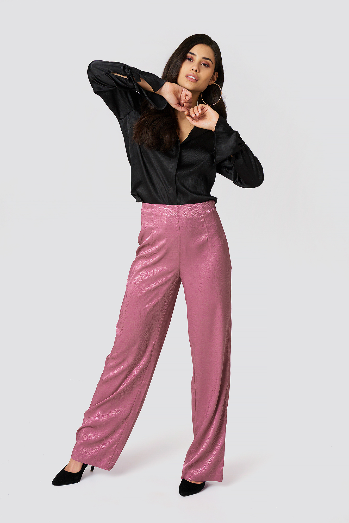 Jacquard Satin Dotted Wide Pants NA-KD.COM