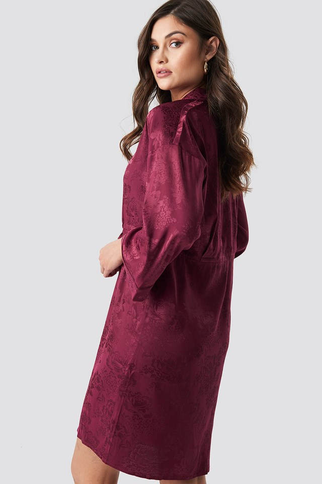 Jacquard Satin Kimono Burgundy