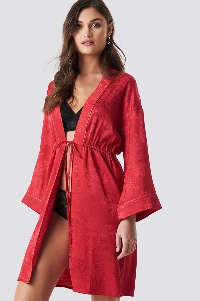 Jacquard Satin Kimono Cherry