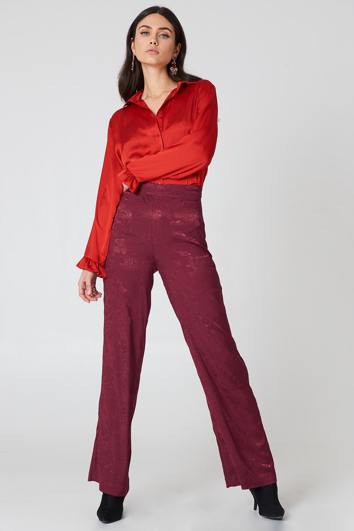 na-kd -  Jacquard Satin Wide Pants - Purple