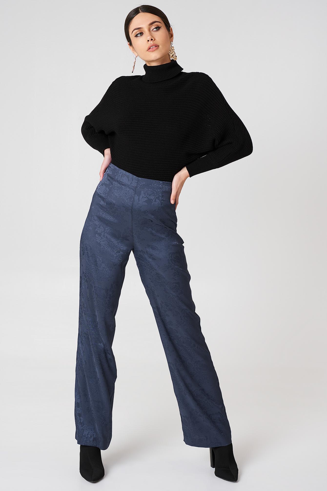 na-kd -  Jacquard Satin Wide Pants - Blue