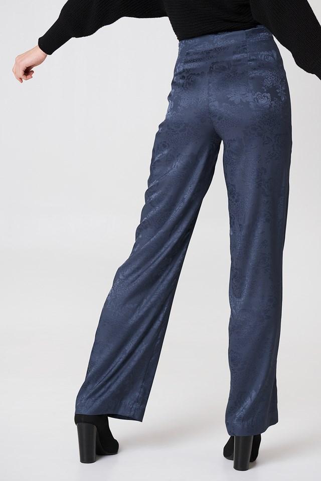 Jacquard Satin Wide Pants Midnight Blue