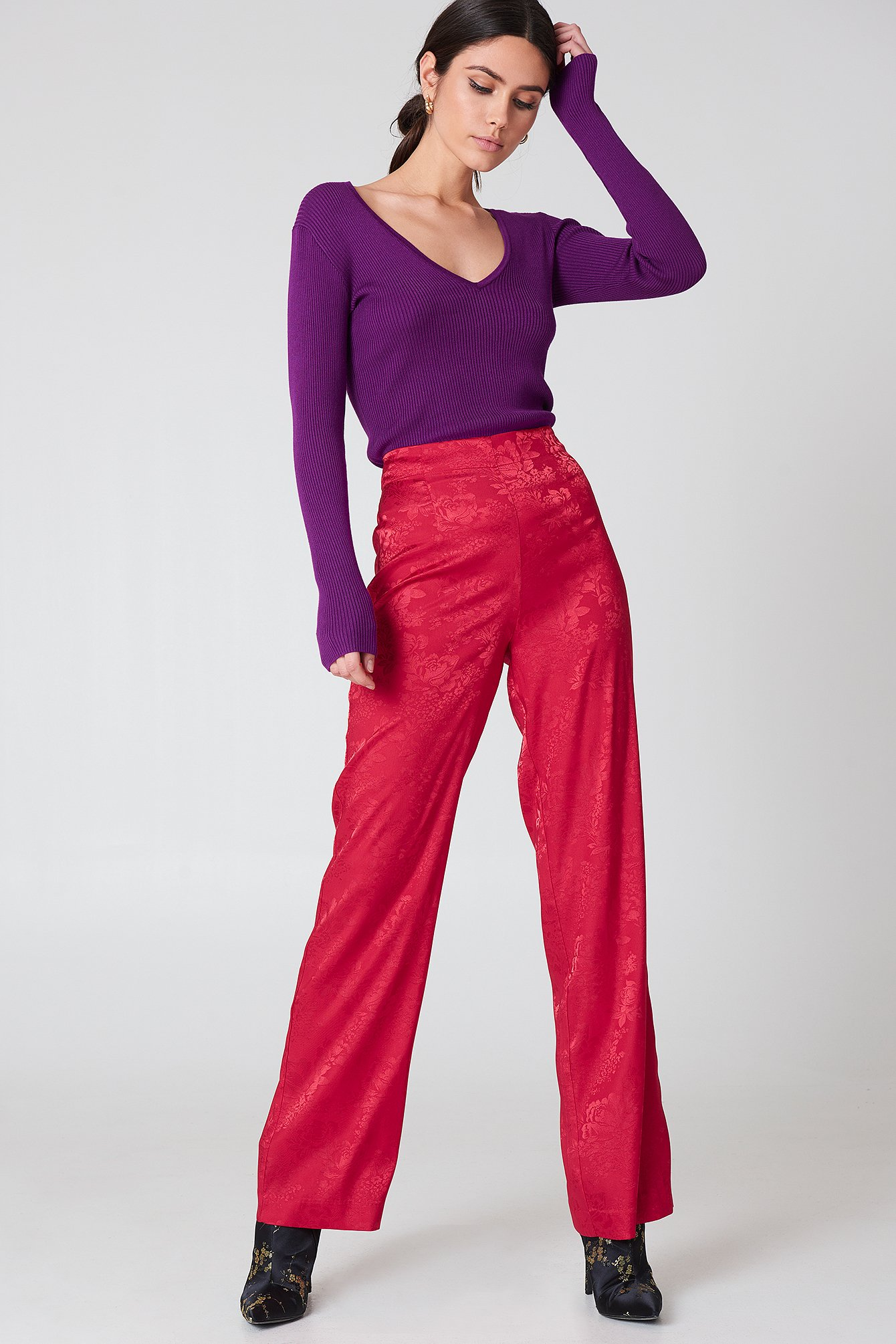 na-kd -  Jacquard Satin Wide Pants - Red