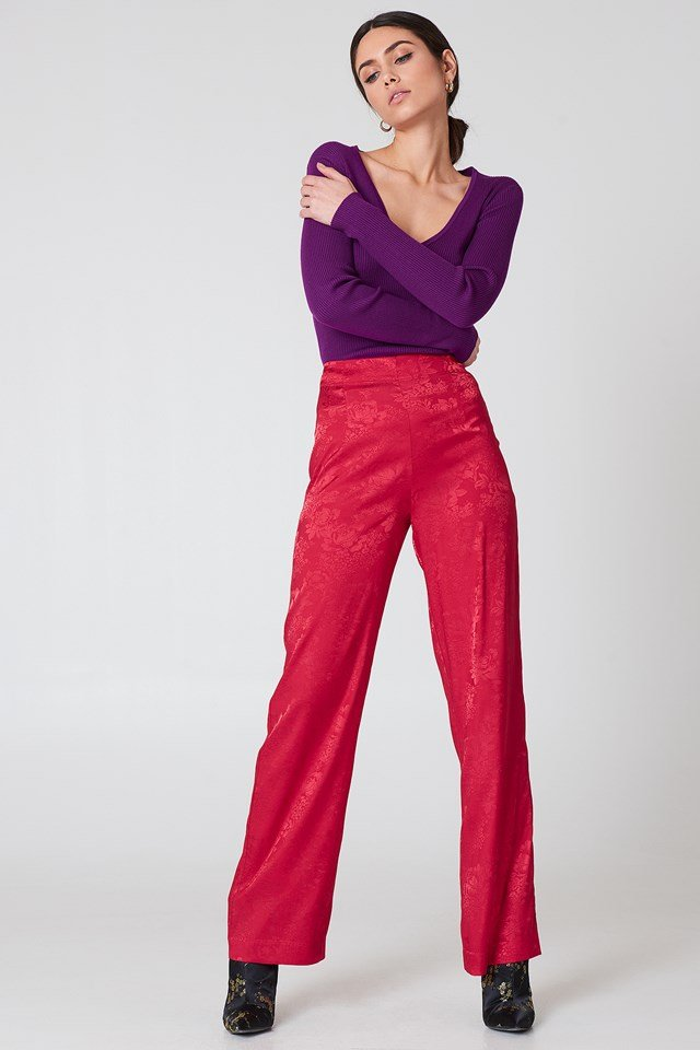 Jacquard Satin Wide Pants Cherry