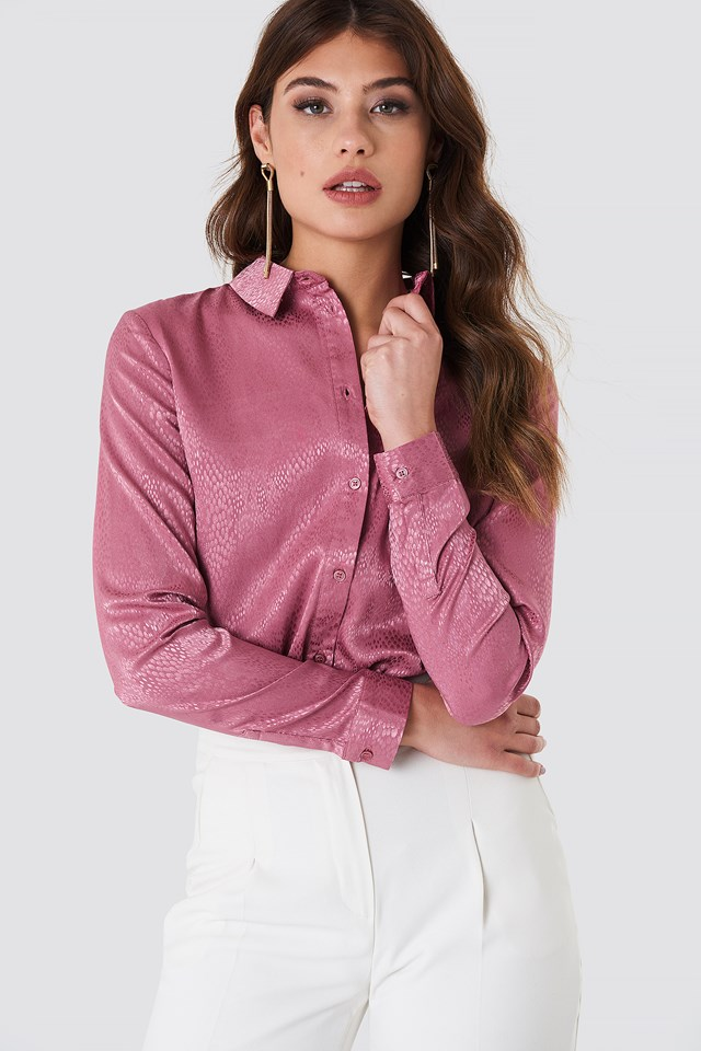 Jacquard Dotted Shirt Pink Rose