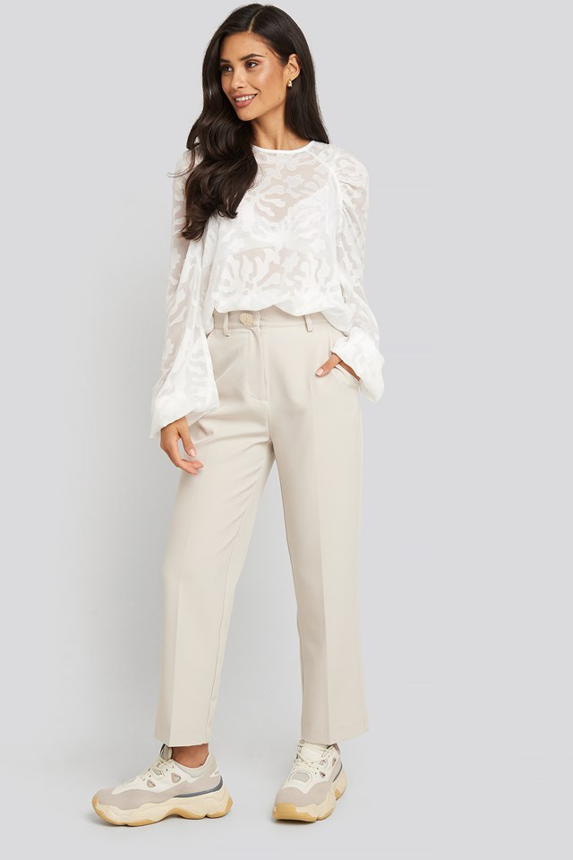 Jaquard Gathered Shoulder Blouse White